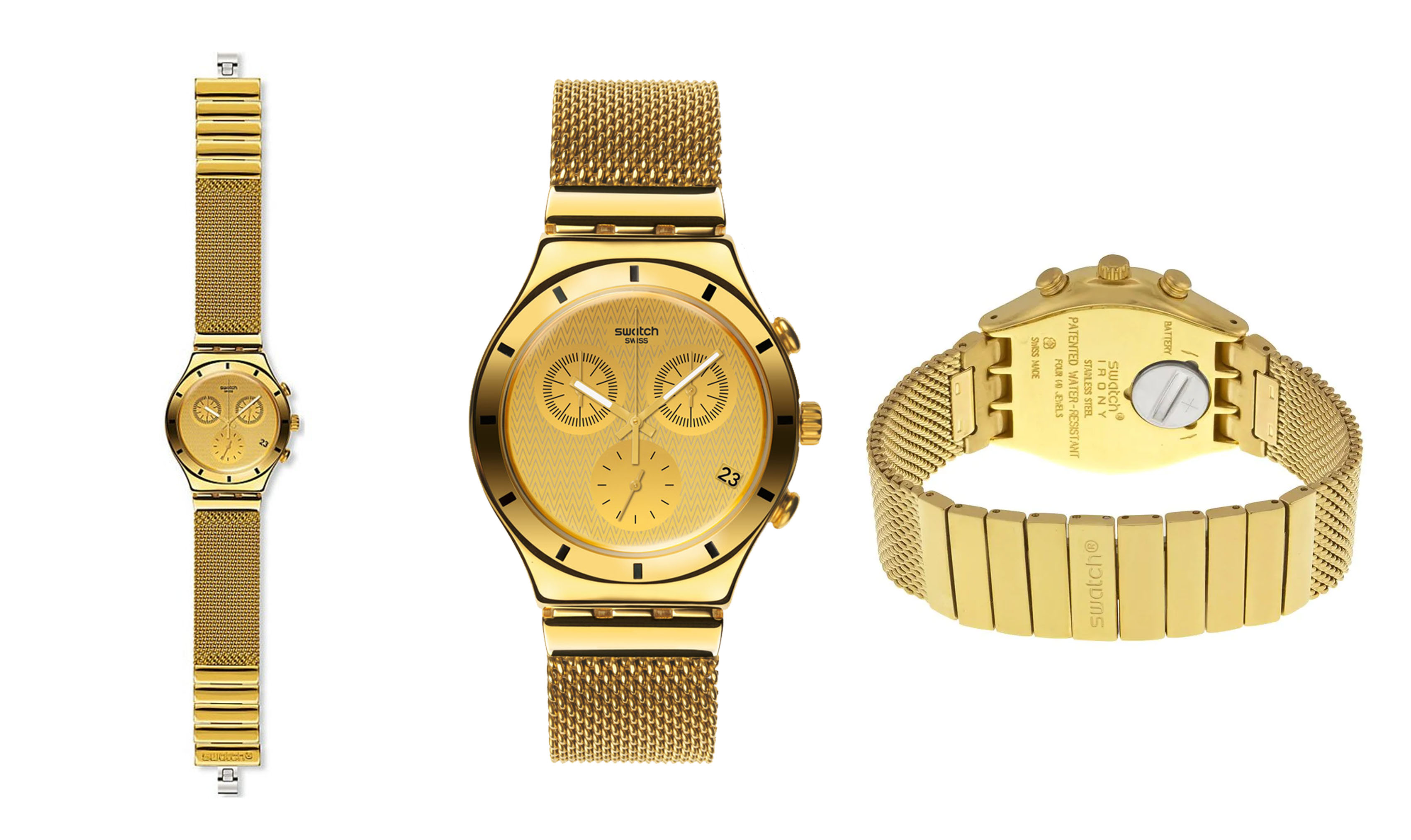Chronograph Gold Dial Gold-plated Mesh Unisex Watch No: YCG410GA